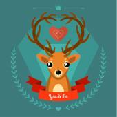 Greeting card with deer on blue — ストックベクタ