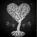 Tree crown like heart on black — Stock Vector #62254735
