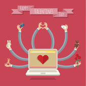 Many-hands laptop. Valentine card — Vector de stock