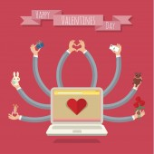 Many-hands laptop. Valentine card — Stockvector