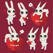 Cute  rabbits — Stock Vector