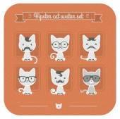Hipster cat avatar set — Stock Vector
