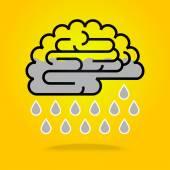 Ideas falling from brain cloud — Stock Vector