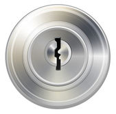 Vector keyhole in round lock — Stock Vector