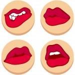 Set of beautiful female lips — Stock Vector #62970033