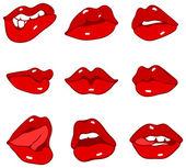 Conjunto de lábios vermelhos — Vetor de Stock