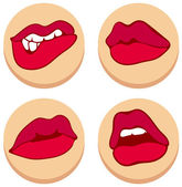 Set of beautiful female lips — Stockvector
