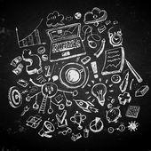 Business doodles on blackboard — Stock Vector