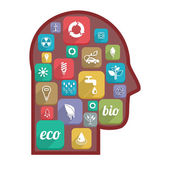 Man's head and eco icons — Stock Vector