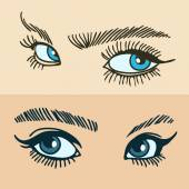 Set of women's eyes — Stock Vector