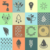 Ecological Icons. Vector illustration — Stock Vector