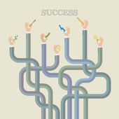 Hands reach to word success — Stock Vector