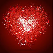 Heart made of red confetti — Stock vektor