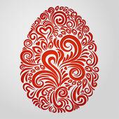 Kırmızı kağıt paskalya yortusu yumurta — Stok Vektör