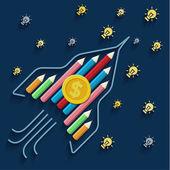Pencils rocket with coin — Stock Vector