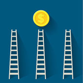 Ladder to dollar coin — Stock Vector