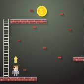 Businessman climbing the ladder on dark — Stock Vector