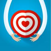 Red heart target with hands — Stock Vector