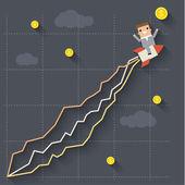 Businessman on rocket. Concept of success — Stock Vector