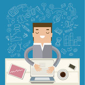 Businessman working at his desk — Stock Vector