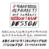Hand drawn two fonts on white — Stock Vector