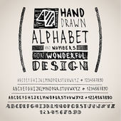 Hand drawn four fonts on white — Stock Vector