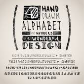 Hand drawn four fonts on white — Stockvector