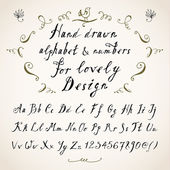 Hand drawn three fonts on white — Vector de stock