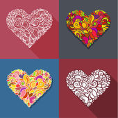 Set of decoration heart — Stock Vector