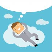 Businessman dreaming on cloud — Stock Vector