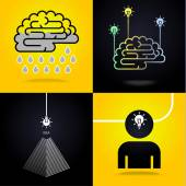 Four images with concept of Idea — Stockvector