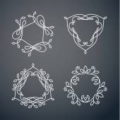 Set of outline monogram frames — Stock Vector
