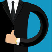Businessman shows thumb up sign — Stock Vector