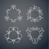 Set of outline monogram frames — Stock Vector