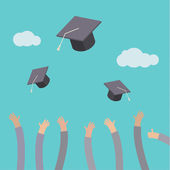 Graduates throwing graduation hats — Vettoriale Stock