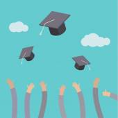 Graduates throwing graduation hats — Stock Vector