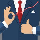 Businessman shows thumb up — Stock Vector