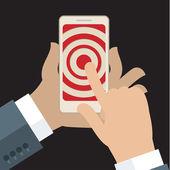 Smartphone in hand with target — Stock Vector