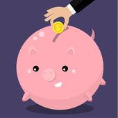 Cute fat piggy bank — Stock Vector