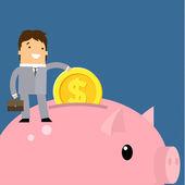 Business man and piggy bank — Stock Vector