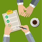 Businessman hand sign business contract — Stockvector