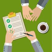 Zakenman hand teken zakelijk contract — Stockvector