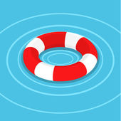 Lifebuoy on the water. — Stock Vector