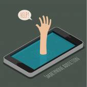 Concept of smartphone addiction — Stockvektor