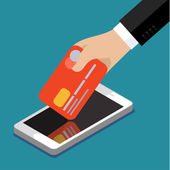 Internet banking in Flat design — Vetor de Stock
