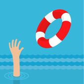 Lifebuoy for drowning man in sea — Stock Vector