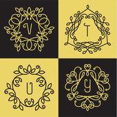 Lineart logo design elements — Stock Vector