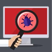 Concept of searching bugs and viruses — Stock Vector