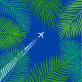 Hand drawn background of palm leaves — Stock Vector