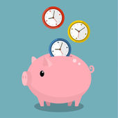 Piggy bank met horloges — Stockvector